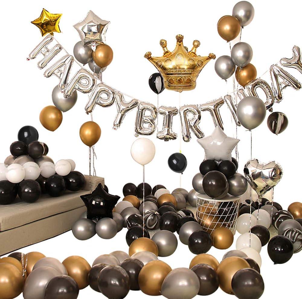 Ponmoo 110 piezas Globos Decoraciones Cumpleaños Negro, Feliz Cumpleaños Globos Negro Dorado y Plata, Globos Lámina Látex de Corona Party Decoración, Globos Decoraciones de Fiesta de Cumpleaños