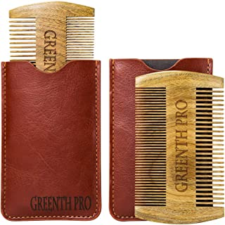 Beard Comb for Men- 2 Packs Natural Sandalwood Styling Comb Anti Static Pocket Sized with Fine and Coarse Teeth for Beard and Mustache Including Leather Case