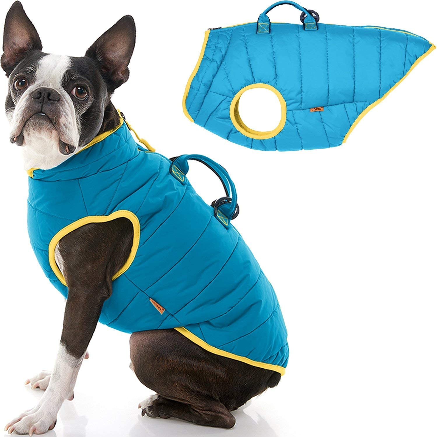 Gooby Padded Max 51% OFF Vest Lift Dog Jacket Limited price - Up with Coat Zip Warm Handle