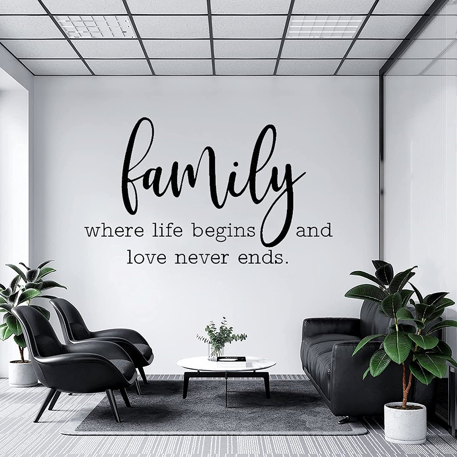 Wall Decal Family Where Life Begins Never shipfree Script and Ends Love Ranking TOP1