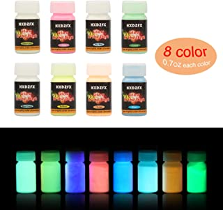 HXDZFX Glow in The Dark Pigment Powder Epoxy Resin Pigment (Set of 8 Bottles 0.7oz Each) Safe Non-Toxic for Slime,Nails,Acrylic Paint,Halloween,Fine Art and DIY Crafts