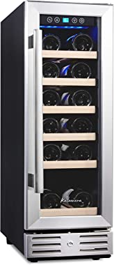 Kalamera 12'' Wine Cooler 19 Bottle Built-in or Freestanding with Stainless Steel & Double-Layer Tempered Glass D