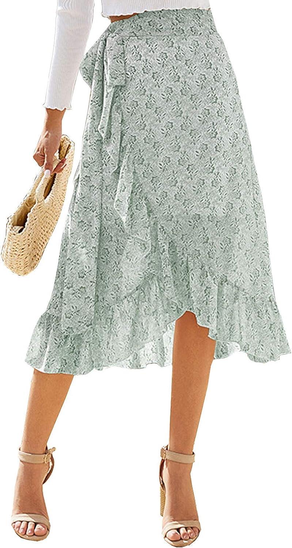 Arjungo Women's Floral Pattern Ruffled Asymmetric Hem Bow Tie Side Lined Flowy Wrap Midi Skirt