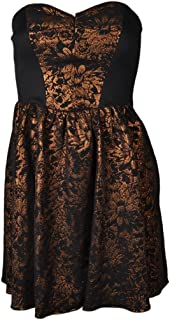 Imprint Metallic Bronze Floral Strapless Dress (12, Black and Bronze)