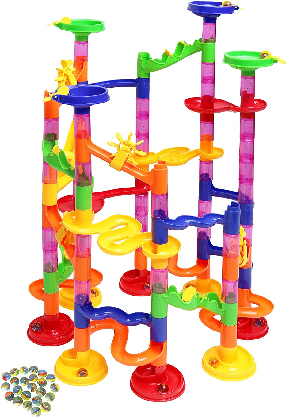 Kiddie Play Marble Run Set for Kids (75 Translucent Marbulous Pieces + 30 Glass Marbles)