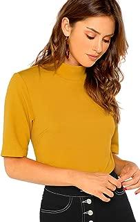 Women's Mock Neck Half Sleeve Slim Fit Ribbed Knit Tee T-Shirts