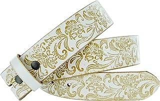 BBBelts Women Brown Alligator Texture Zircons /& Studs Floral Snap On Buckle Belt