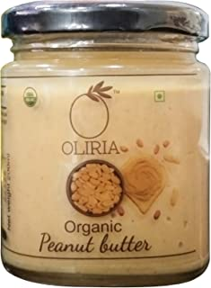 Oliria 100% natural USDA organic certified Peanut Butter, Crunch Unsweetened, Protien Pack, Gleten Free, Vegan- 200g glass...