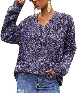 Women V Neck Knit Sweater Long Sleeve Pullover Jumper Top