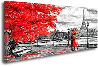 youkuart Canvas Wall Art Black White and Red Umbrella Couple in Street Eiffel Tower Oil Painting Printed on Canvas Romantic Picture Framed Artwork Prints for Walls Decor(24inchx48inch)