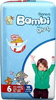 Sanita Bambi Baby Diapers Regular Pack Size 6, XX-Large, +16 Kg, 10 Count