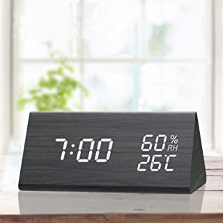 TooTa Digital Alarm Clock, 3 Alarm Settings, with Wooden Electronic LED Time Display,