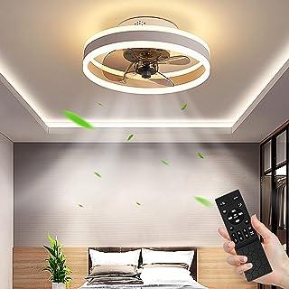 LED Ventilateur de Plafond 48W Dimmable (3000-6500K) Fan Plafonnier Ultra-Silencieux Ventilateur Plafonnier avec Télécomma...