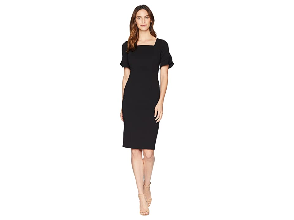 Donna Morgan Midi Length Crepe Dress with Flutter Sleeve (Black) Women
