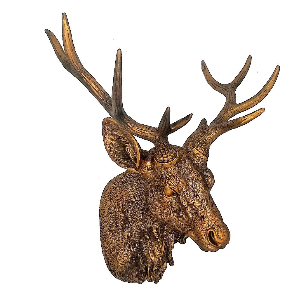 Alaskan Moose Trophy Design Toscano Hand Painted Authentic Hues Wall Sculpture