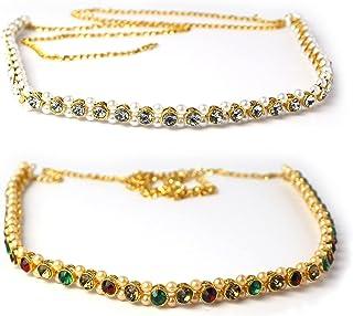 KONTAZ Gold Plated Pearl Waist Chain Kamarband for Women/Girls Combo Set of 2