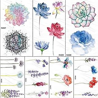 Lotus Watercolor Succulents Temporary Tattoos Sticker Plants Custom Tattoo Body Art Arm Fake Tatoos Flower Lavender 106Cm 7Pc