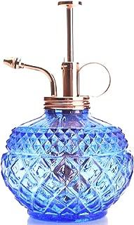 Purism Style Plant Mister- Blue Color Glass Bottle & Brass Sprayer (Rose Gold)
