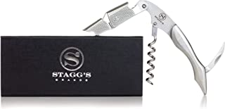 Premium Double Hinged Waiter's Wine Corkscrew by Stagg's Brands- Solid Stainless Steel Wine Key- Perfect Wine Opener for Waiters, Sommeliers and Bartenders (Stainless Steel) (Renewed)