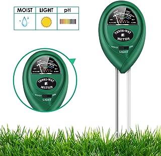 Soil pH Meter, 3-in-1 Soil Test Kit for Moisture, Light, pH for Home and Garden, Lawn, Farm, Plants, Plant Care Soil Tester (No Battery Needed)