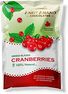 Andy Anand Chocolates- Premium Dried Sliced Cranberries fresh fruits snack cranberry dry fruit sliced unsweetened Cranberry (Pack of 2 – 3 oz.).