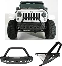 GSI Stubby Front Bumper with +Bull Bar Hoop and Winch Mount Plate for 07-18 Jeep Wrangler JK