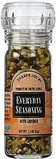 Trader Joe's Everyday Seasoning with Built in Grinder Use on Everything Everyday Sea Salt,mustard Seeds, Black Peppercorns,coriander,onion,garlic,paprika & Chili Pepper 2.3oz