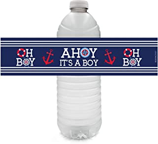 Ahoy It's a Boy Baby Shower Water Bottle Labels - 24 Stickers