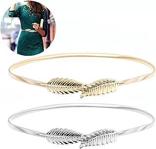 Sponsored Ad - KESYOO 2pcs Waist Belt Metal Leaves Waistband Elastic Stretch Waist Strap Cummerbund (Golden & Silver)