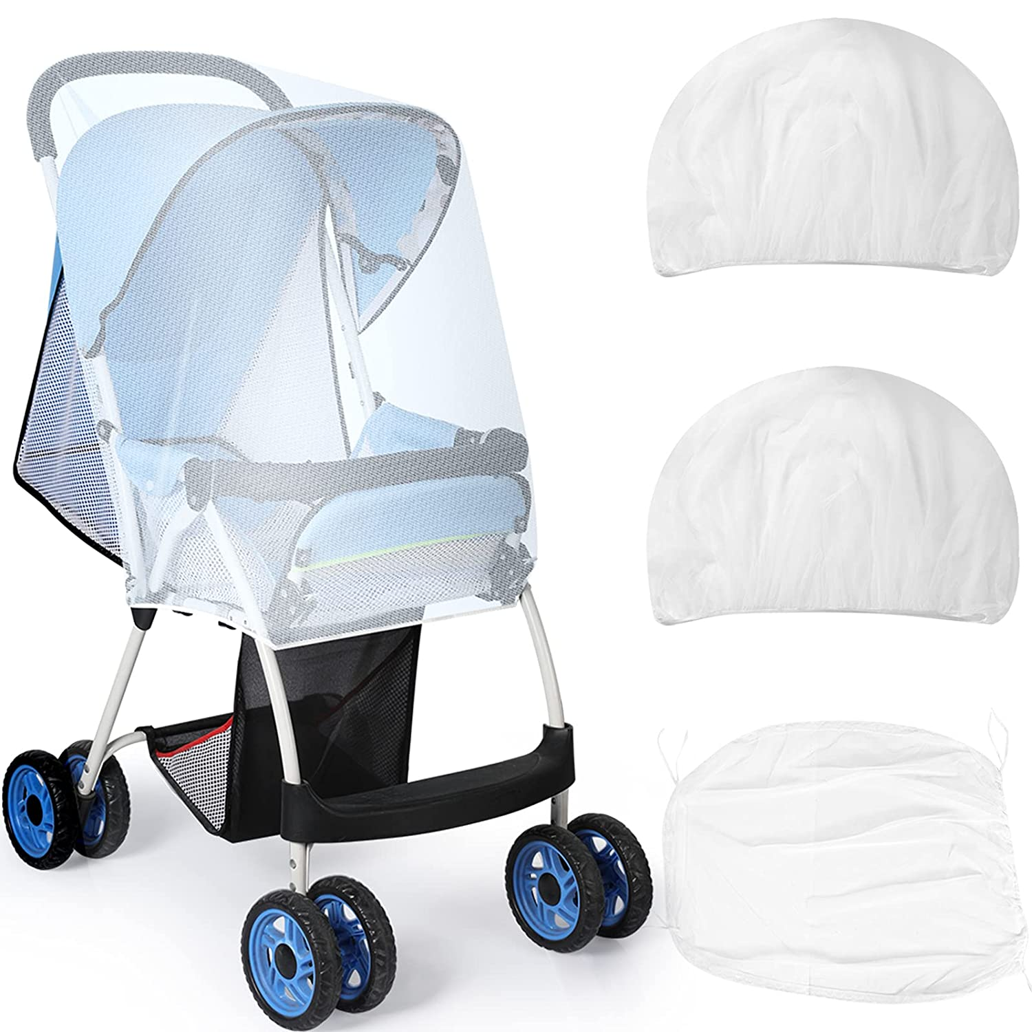Datanly 3 Pieces Baby Stroller Net Mini Portable Crib Net Universal Baby Lightweight Stroller Netting Stroller Carriage Netting Cover for Strollers Bassinets Cradles Pack and Play Crib, White