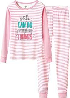 Sponsored Ad - Girls Cotton Pajamas Snug-Fit Stripe Long Sleeve & Pants PJ Set Kid Size 4T -14
