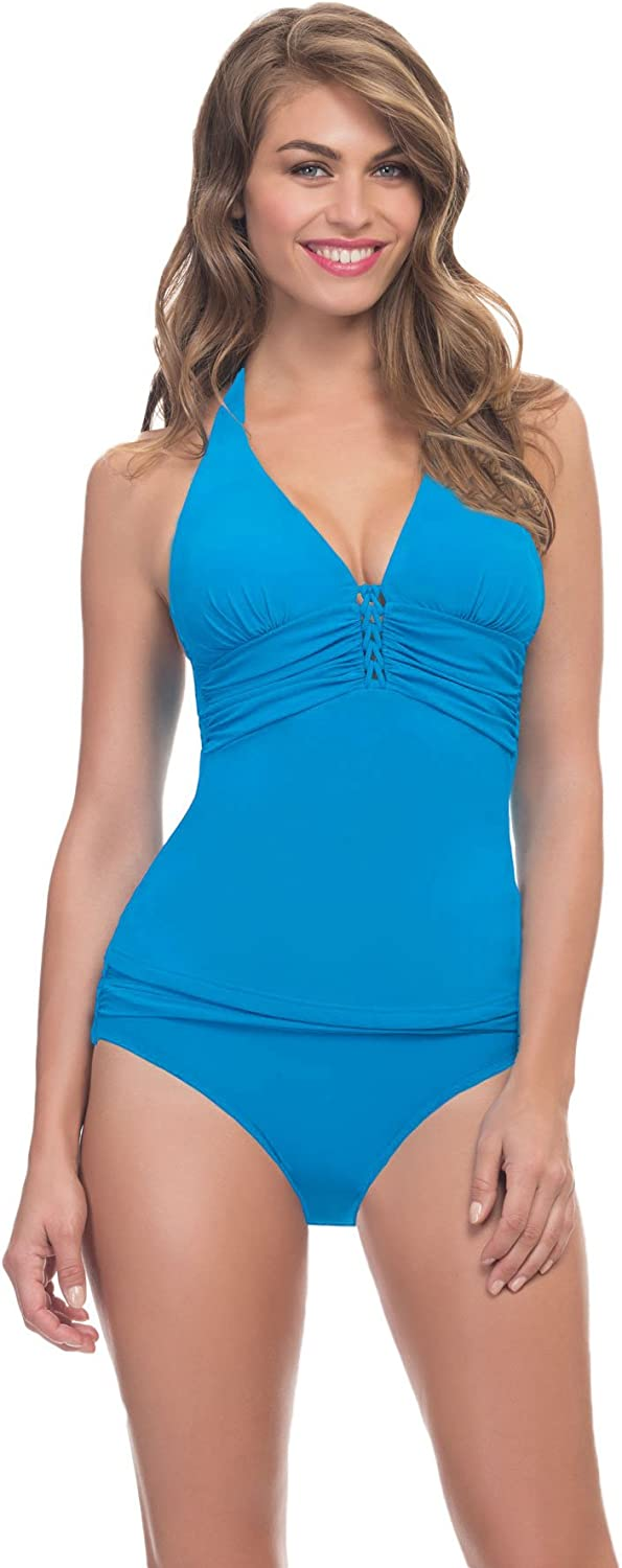 Profile by Gottex Women's Waterfall Halter Tankini Top Turquoise 8