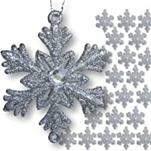 Silver Snowflakes - Set of 48 Small 2 ? Snowflake Ornaments with a Jewel - Silver Christmas Decorations - Glittered Snowfl...