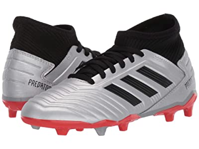 adidas Kids Predator 19.3 FG Soccer (Little Kid/Big Kid) (Silver/Black/Hi-Red Red) Kids Shoes