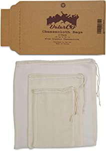Organic Cheesecloth Bags 3-Pack For Straining Food, Yogurt, Juice, Cold Brew Coffee & Tea Filter - Reusable Cheese cloth nut milk bags GOTS Certified