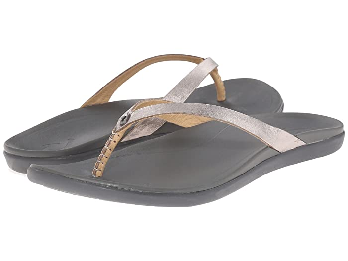 Ho'opio Leather  Shoes (Sliver/Charcoal) Women's Sandals
