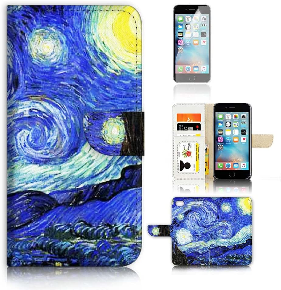 ( For iPhone 8 / iPhone 7 ) Flip Wallet Case Cover and Screen Protector Bundle A0066 Starry Night Van Gogh