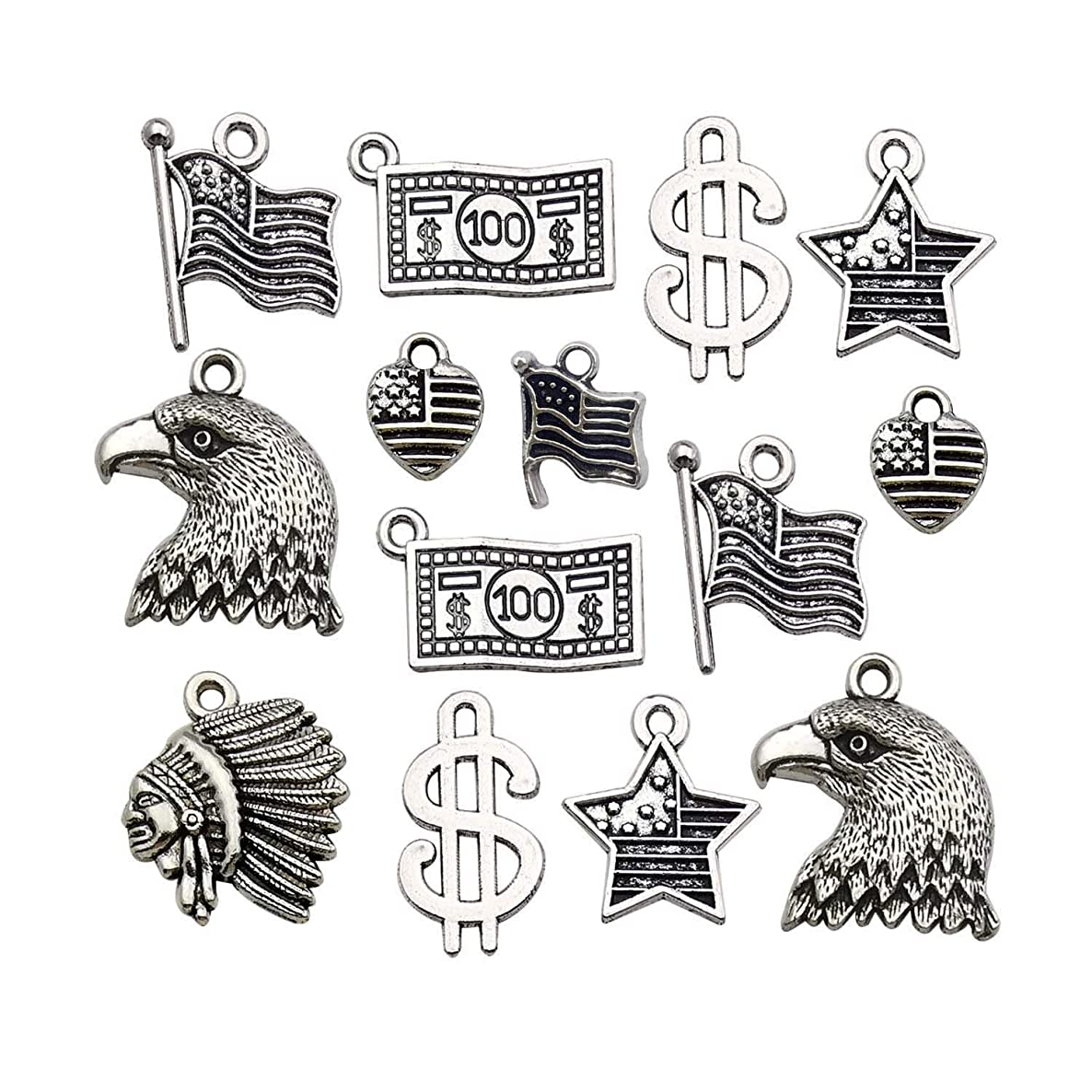 80pcs America Theme Charms Collection Craft Supplies Antique Silver Native American Flag Dollar Charm 4th of July USA Patriot Charms Pendants for Jewelry Making Crafting Findings M261