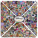 Stoner Trippy Stickers 206 Pcs Cool Hippie Psychedelic Mushroom Vinyl Waterproof Mixed Sticker Pack for Hydroflask Water Bottle Laptop Skateboard Guitar Bumper Suitcase for Teen Adults Decal Stickers