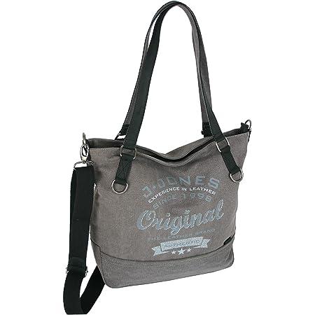 JENNIFER JONES Großer Damen Shopper aus Canvas und Echtleder Vintage Look Casual Schultertasche Umhängetasche Farbe Grau