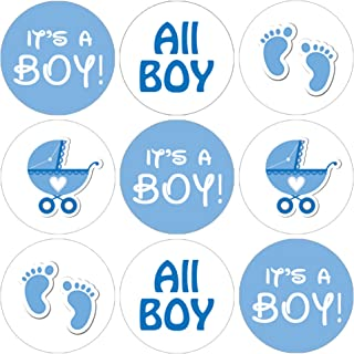 It's a Boy Baby Shower Favor Stickers - Blue Footprint Theme - 180 Count
