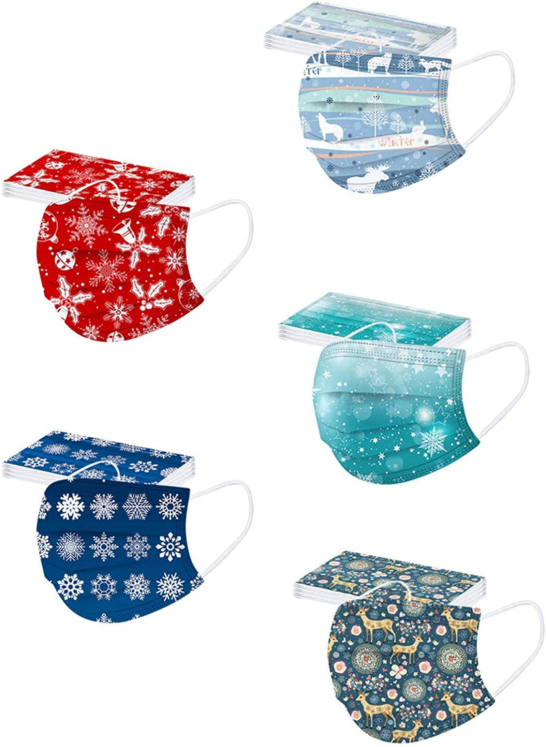 50PCS Winter Disposable Face_Masks For Adults Holiday Face_Masks with Designs Christmas Pattern 3-Ply Non-Woven Paper_Mask