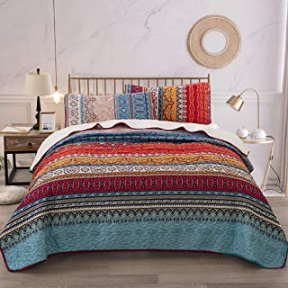 WONGS BEDDING Bohemian Quilt Set Queen, Boho Striped Pattern Printed Quilt Coverlet for All Season, Soft Microfiber Boho Bedspread Set(3 Pieces, Queen)