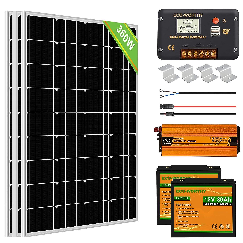ECO-WORTHY 1.5kWh Kit completo de paneles solares 360W 12V Sistema fuera de la red para RV/Barco/Hogar: 3 paneles solares 120W + controlador 30A + 2 baterías de litio 30Ah + inversor solar 600W