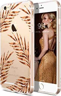 Coolwee iPhone 6s Plus Case Rose Gold Leaves Floral Case for Women Girl Foil Clear Design Shinny Glitter Hard Back Case Soft TPU Bumper Cover for Apple iPhone 6 Plus 5.5 inch Sparkle Tropical Leaf