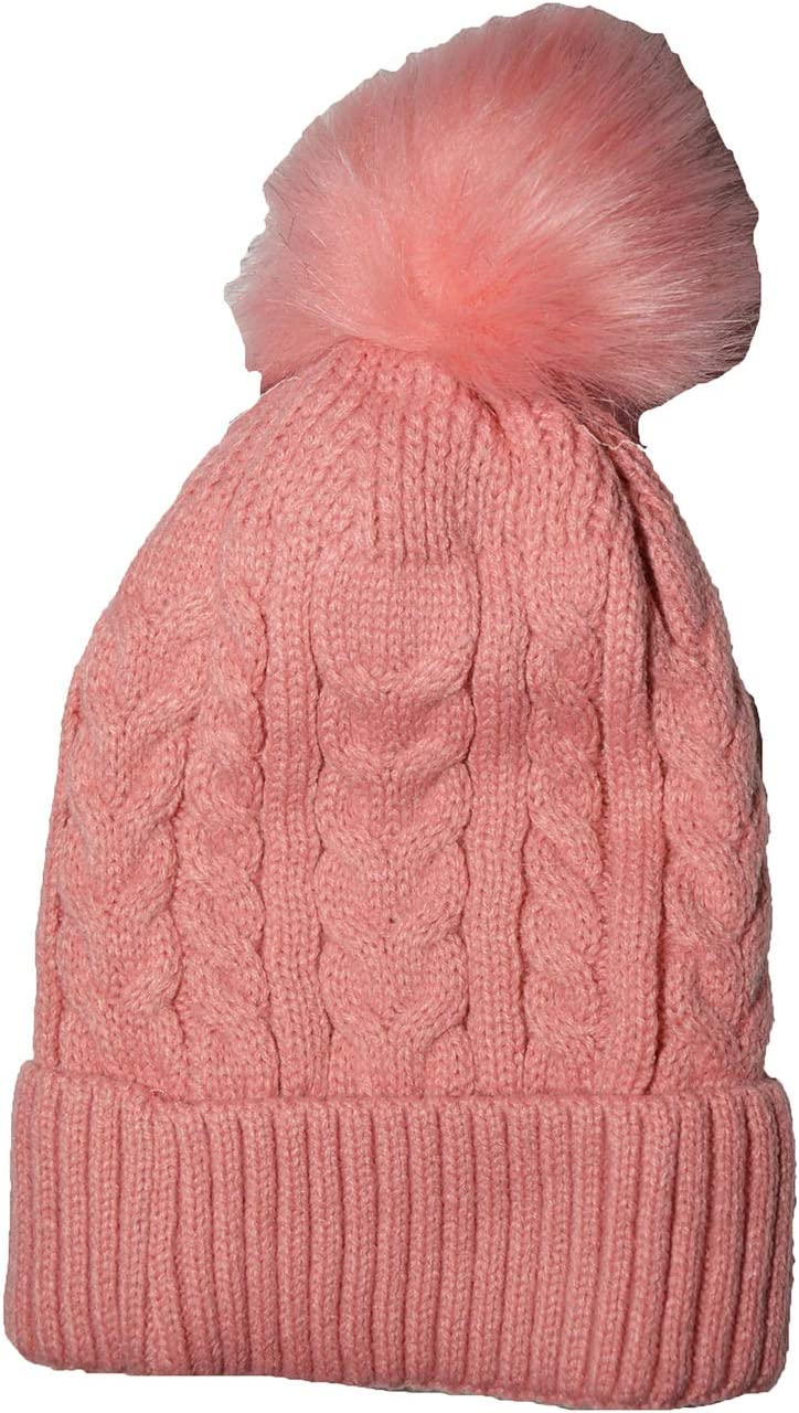 KGM Accessories Sombrero de pomp/ón de piel sint/ética con forro polar beige