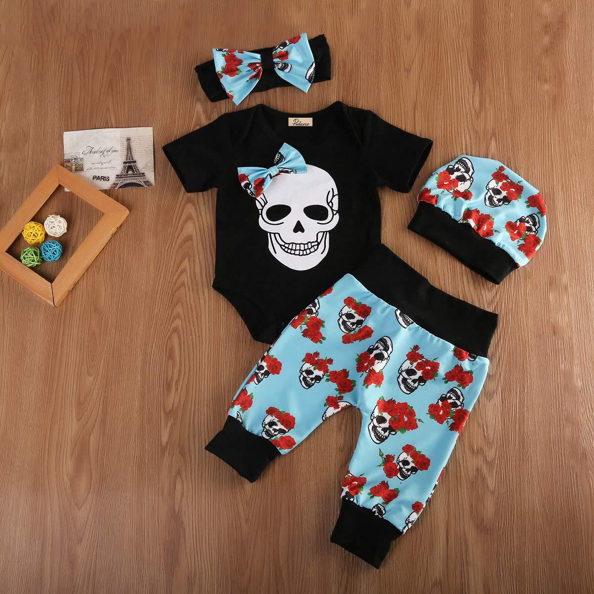 Niños Bebés Ropa de cráneo Camisa Informal Pantalones largos trajes Halloween Traje De Algodón