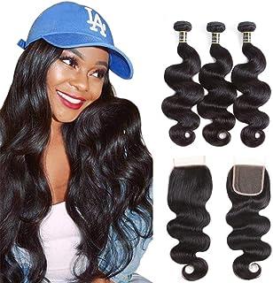 Puddinghair Body Wave 3 Bundles with Closure Brazilian Human Hair Bundles with Lace Closure Natural Black Unprocessed Virg...