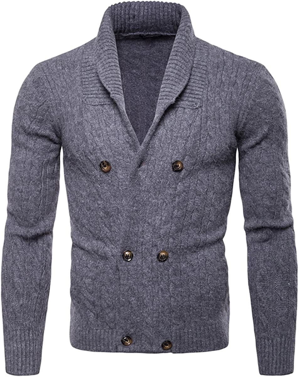 Mens Cardigan Sweater Lapel Double Breasted Classic Pattern Solid Color