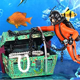 Clearance Sale!DEESEE(TM)🌸🌸Fish Tank Ornament Hunter Diver Treasure Figure Action Aquarium Decor Landscape (Orange)